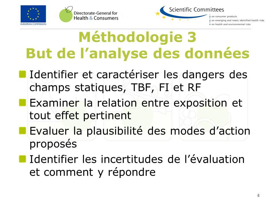 6 Méthodologie 3 But de lanalyse des données Identifier et caractériser les dangers des champs statiques, TBF, FI et RF Examiner la relation entre exp