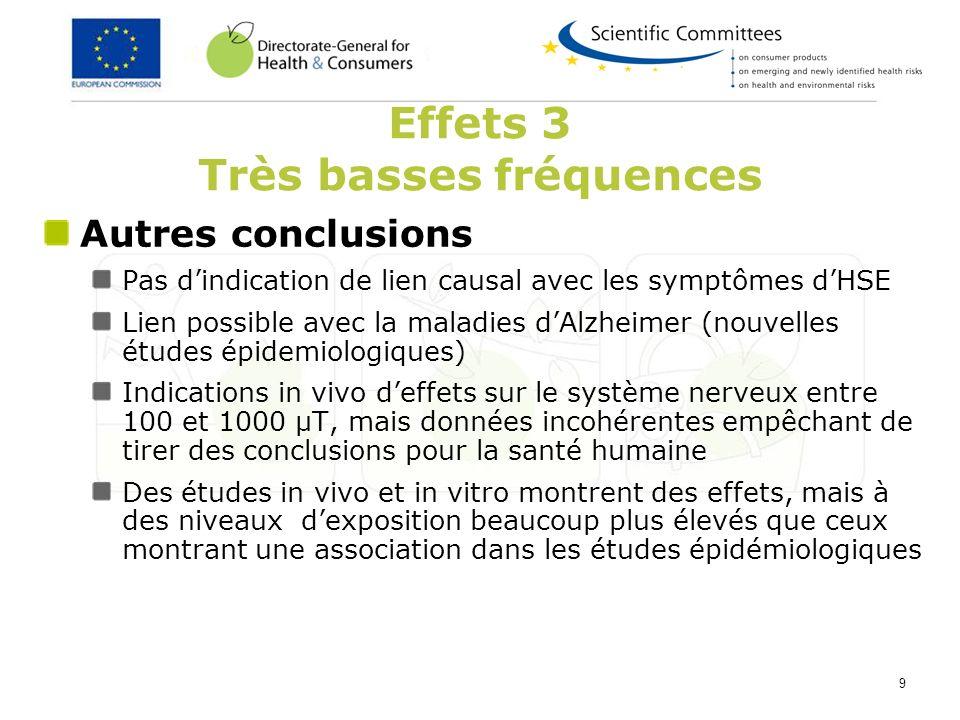 9 Autres conclusions Pas dindication de lien causal avec les symptômes dHSE Lien possible avec la maladies dAlzheimer (nouvelles études épidemiologiqu