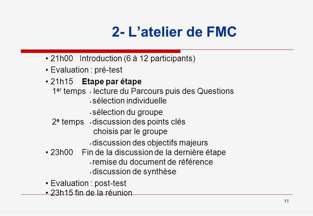 11 2- Latelier de FMC 21h00 Introduction (6 à 12 participants) Evaluation : pré-test 21h15 Etape par étape 1 er temps lecture du Parcours puis des Que