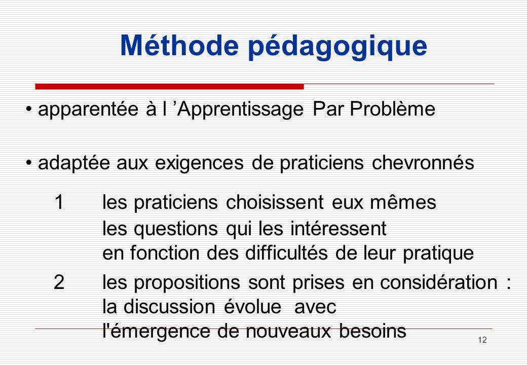 12 Méthode pédagogique apparentée à l Apprentissage Par Problème adaptée aux exigences de praticiens chevronnés 1les praticiens choisissent eux mêmes