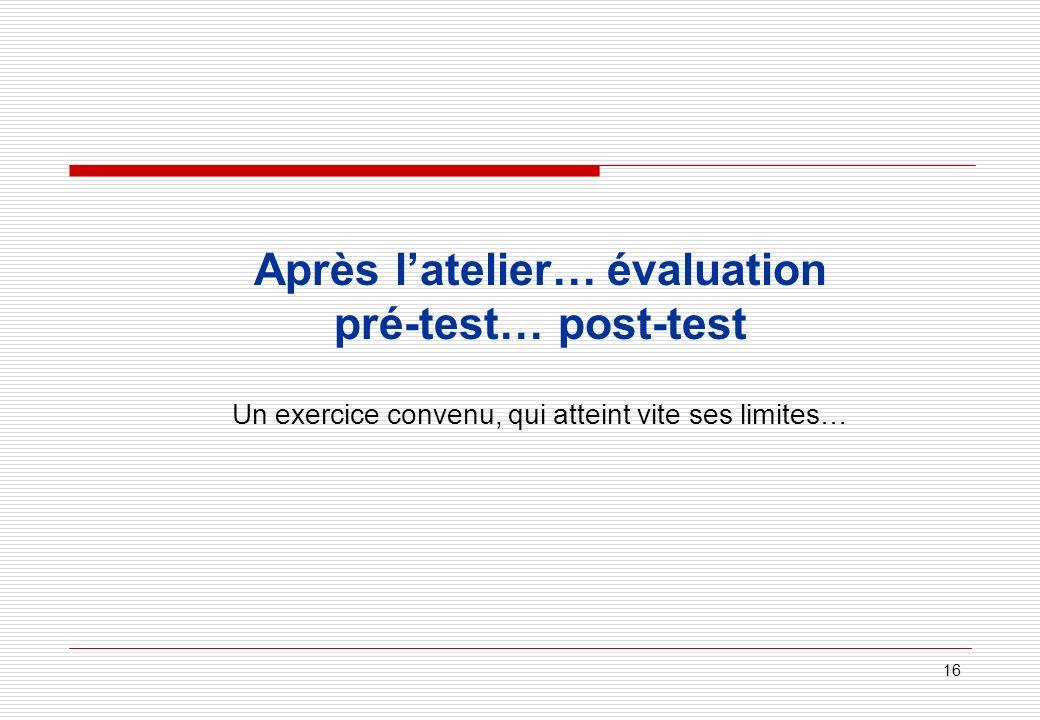 16 Après latelier… évaluation pré-test… post-test Un exercice convenu, qui atteint vite ses limites…