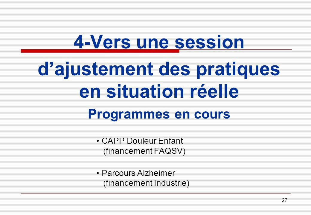27 4-Vers une session dajustement des pratiques en situation réelle Programmes en cours CAPP Douleur Enfant (financement FAQSV) Parcours Alzheimer (fi