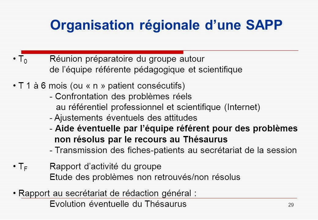 29 Organisation régionale dune SAPP T 0 Réunion préparatoire du groupe autour de léquipe référente pédagogique et scientifique T 1 à 6 mois (ou « n »