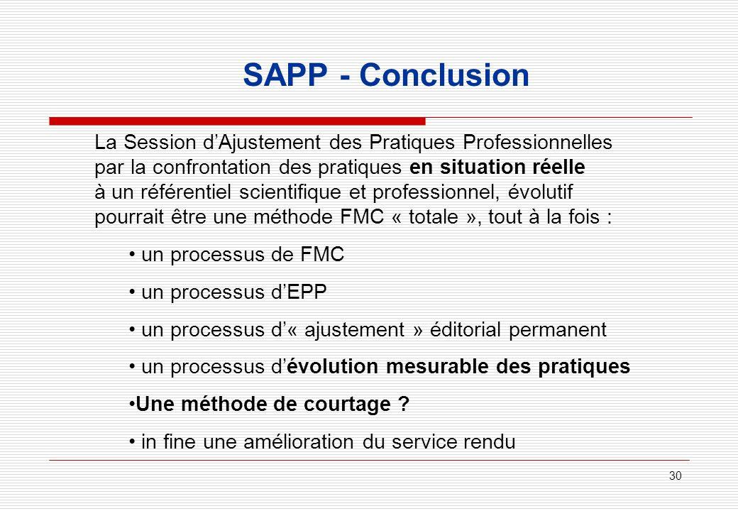 30 SAPP - Conclusion La Session dAjustement des Pratiques Professionnelles par la confrontation des pratiques en situation réelle à un référentiel sci