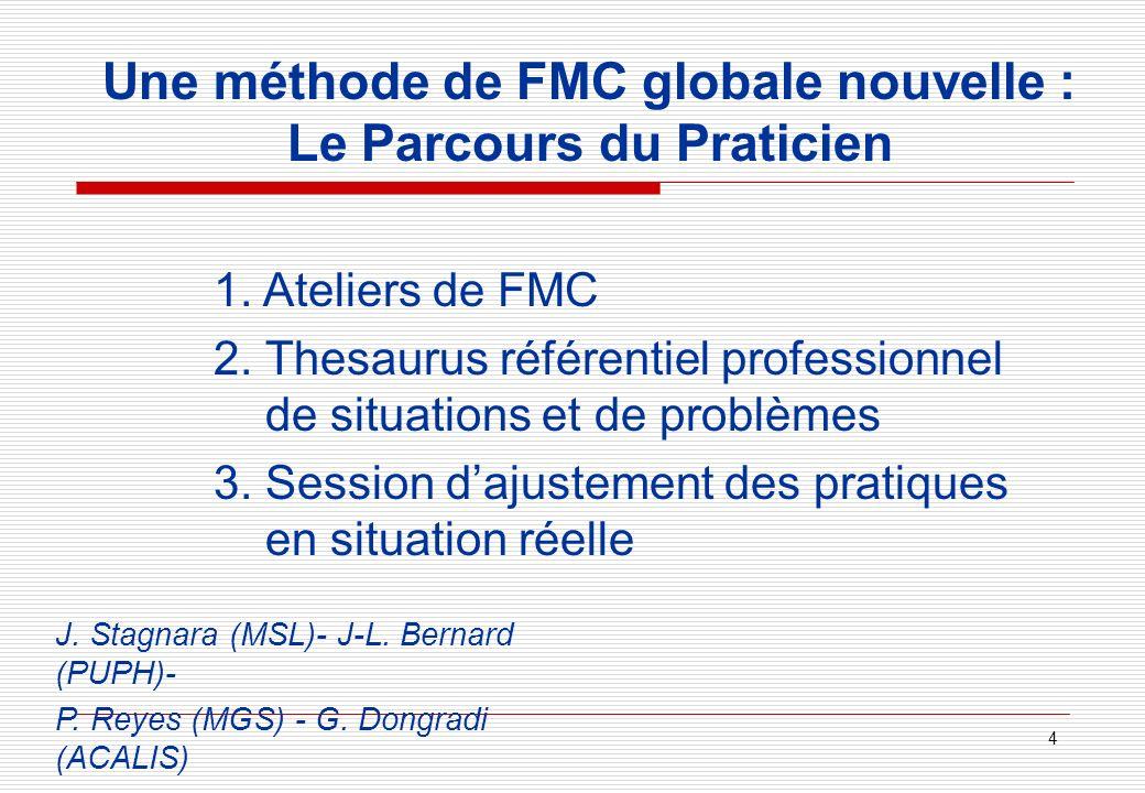 4 Une méthode de FMC globale nouvelle : Le Parcours du Praticien 1. Ateliers de FMC 2. Thesaurus référentiel professionnel de situations et de problèm