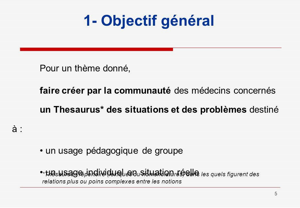 5 1- Objectif général Pour un thème donné, faire créer par la communauté des médecins concernés un Thesaurus* des situations et des problèmes destiné