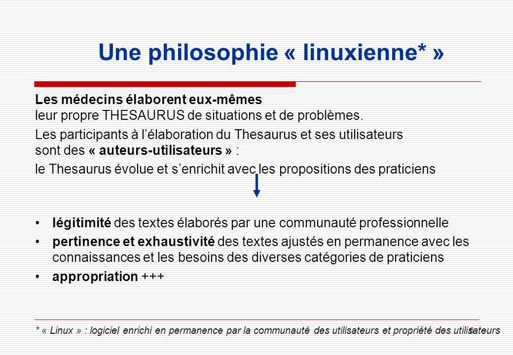 6 Une philosophie « linuxienne* » Les médecins élaborent eux-mêmes leur propre THESAURUS de situations et de problèmes. Les participants à lélaboratio