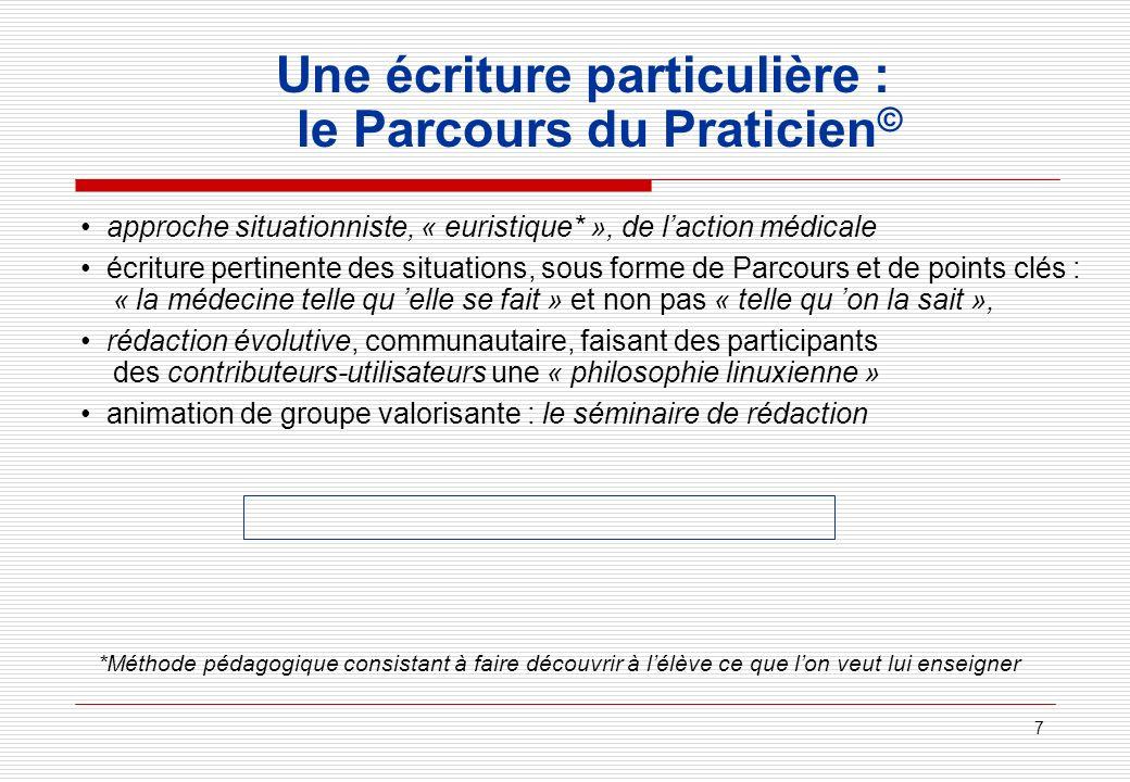 7 Une écriture particulière : le Parcours du Praticien © approche situationniste, « euristique* », de laction médicale écriture pertinente des situati
