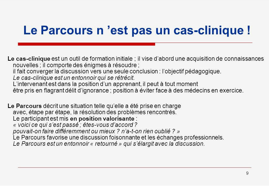 9 Le Parcours n est pas un cas-clinique ! Le cas-clinique est un outil de formation initiale ; il vise dabord une acquisition de connaissances nouvell