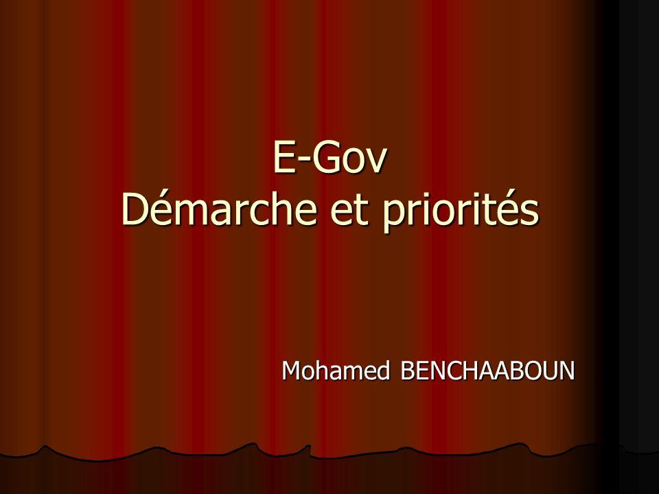 E-Gov Démarche et priorités Mohamed BENCHAABOUN