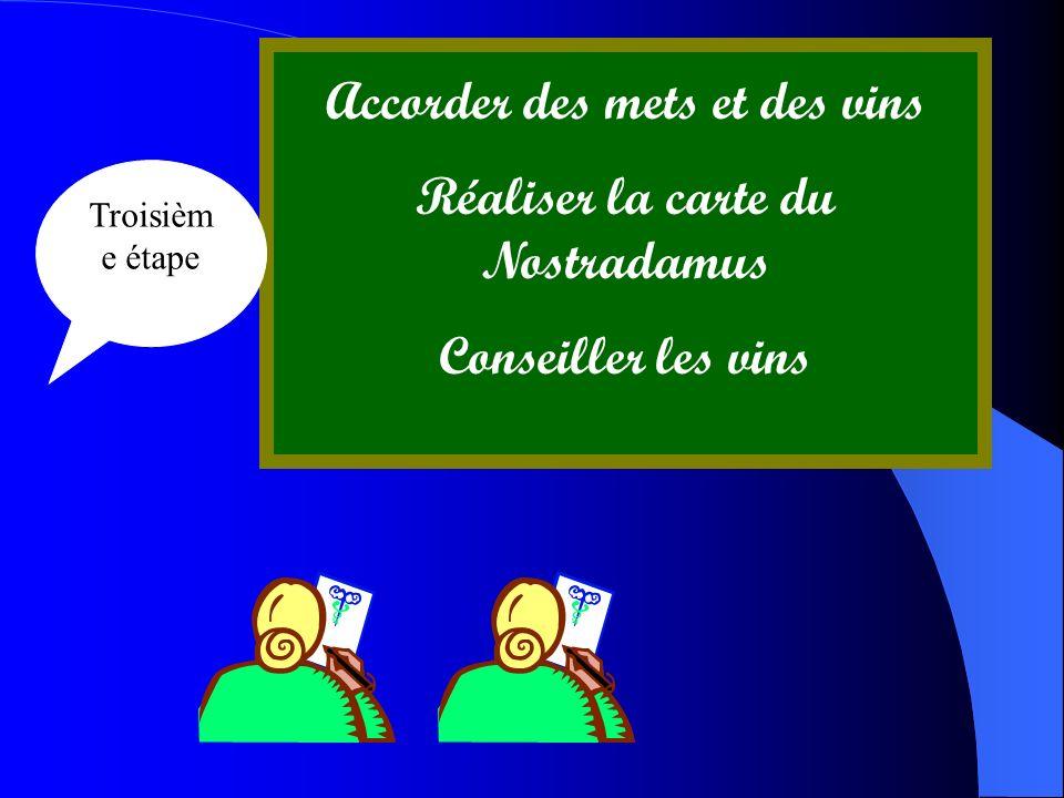 Accorder des mets et des vins Réaliser la carte du Nostradamus Conseiller les vins Troisièm e étape
