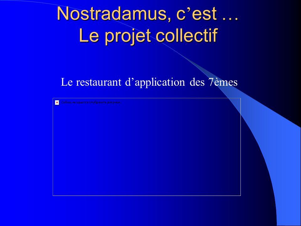 Nostradamus, c est … Le projet collectif Le restaurant dapplication des 7èmes