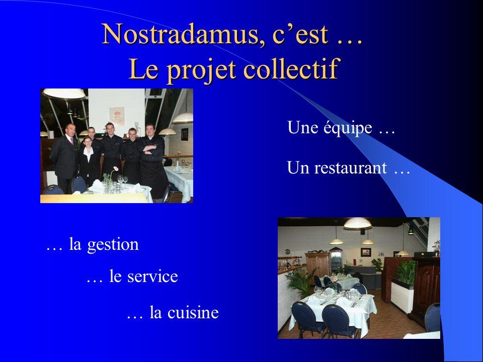 Nostradamus, cest … Le projet collectif Une équipe … Un restaurant … … la gestion … le service … la cuisine
