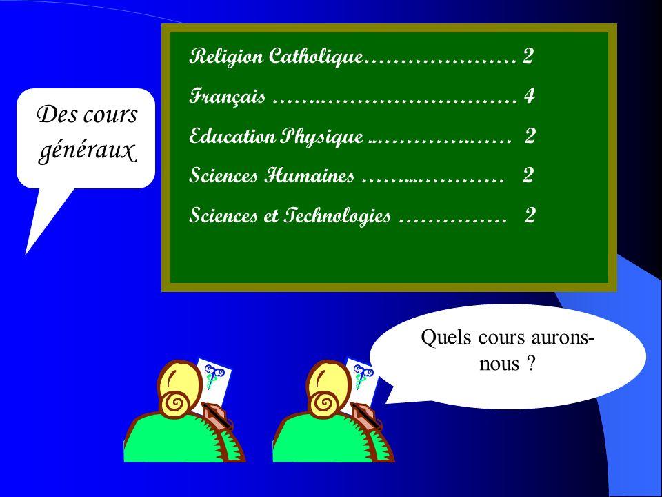Quels cours aurons- nous ? Des cours généraux Religion Catholique………………… 2 Français …….……………………… 4 Education Physique..………….…… 2 Sciences Humaines …….