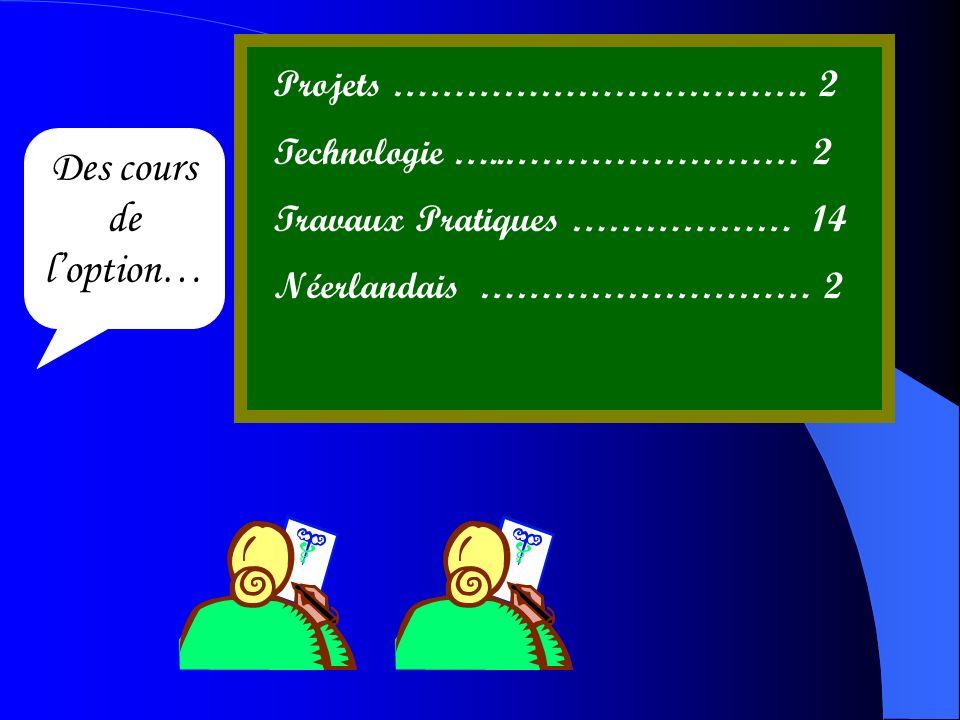 Des cours de loption… Projets ……………………………. 2 Technologie …..…………………… 2 Travaux Pratiques ……………… 14 Néerlandais ……………………… 2