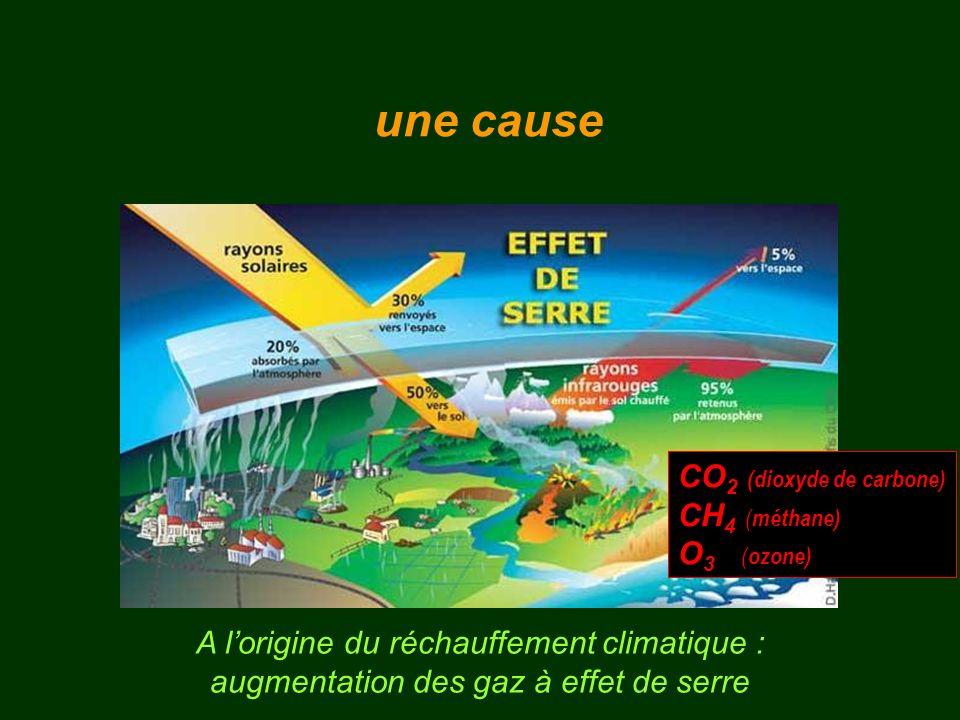 A lorigine du réchauffement climatique : augmentation des gaz à effet de serre CO 2 (dioxyde de carbone) CH 4 ( méthane) O 3 ( ozone) une cause