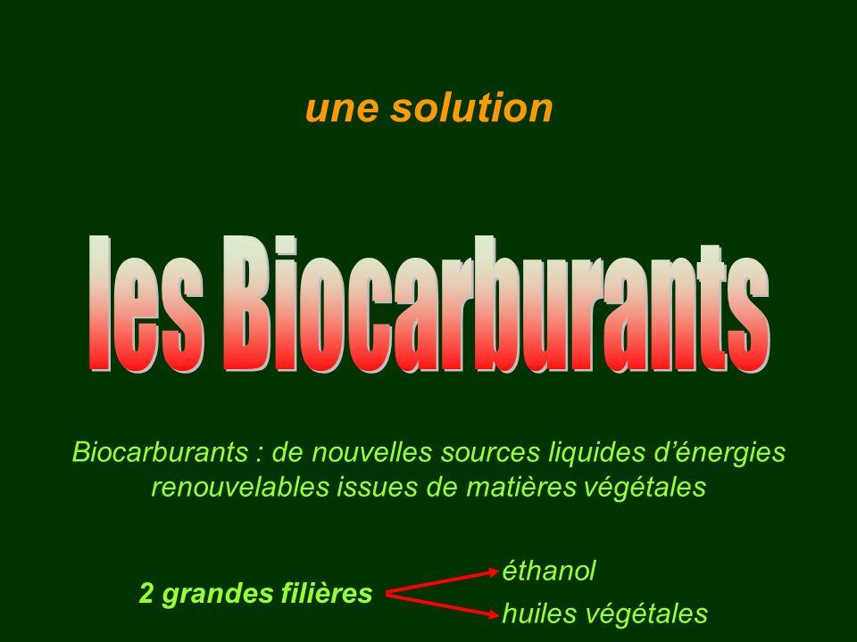 Biocarburants : de nouvelles sources liquides dénergies renouvelables issues de matières végétales 2 grandes filières éthanol huiles végétales une sol