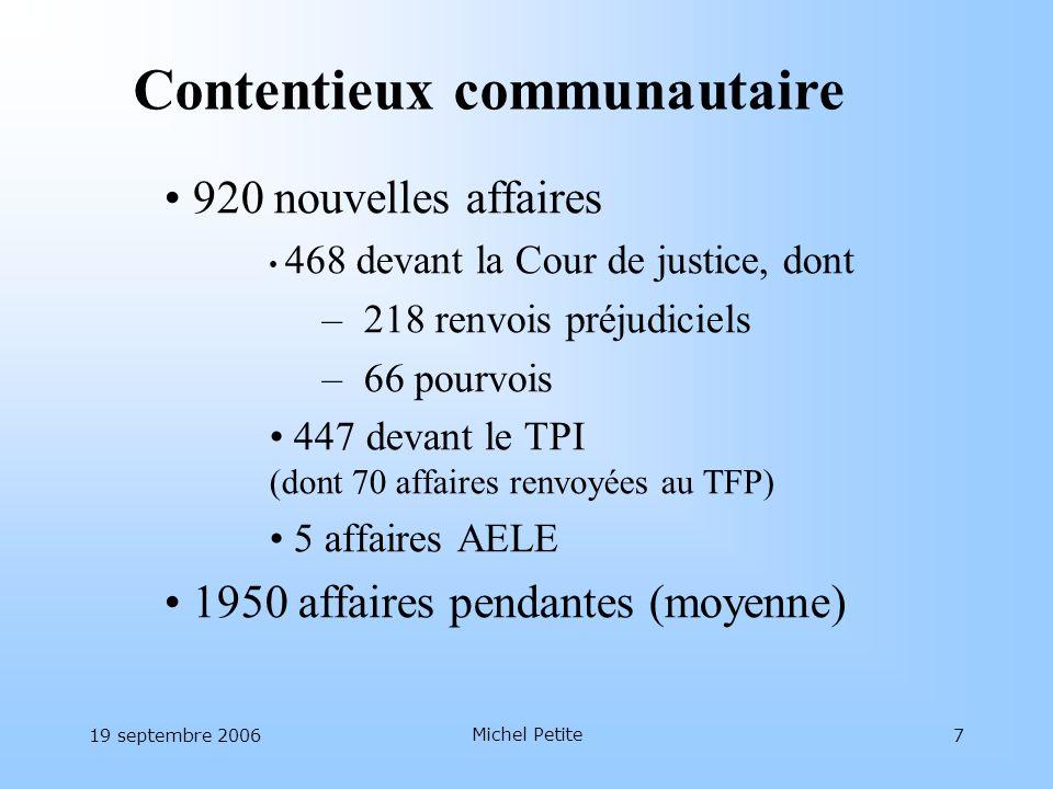 19 septembre 2006 Michel Petite 7 920 nouvelles affaires 468 devant la Cour de justice, dont – 218 renvois préjudiciels – 66 pourvois 447 devant le TP