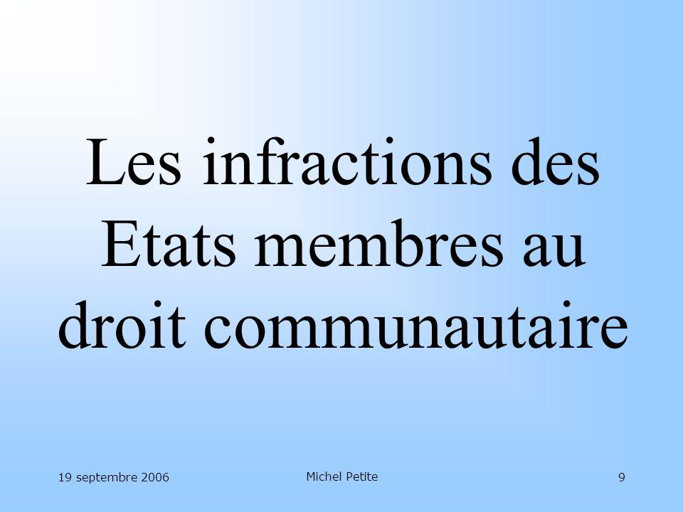 19 septembre 2006 Michel Petite 10 La cascade des infractions Dossiers en cours au 31/12/2005 :3567 Infractions présumées (enregistrées en 2005) :2653 –~ 60 % mises en demeure ~ 40 % avis motivés –~ 10 % saisines de la Cour