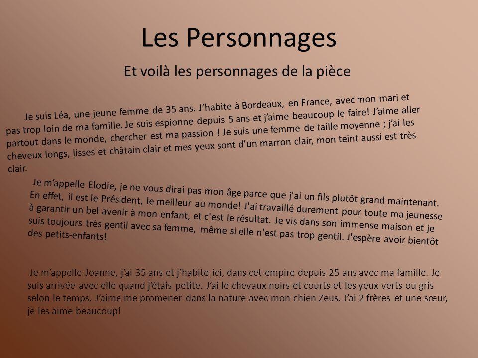 Les Personnages Je suis Léa, une jeune femme de 35 ans. Jhabite à Bordeaux, en France, avec mon mari et pas trop loin de ma famille. Je suis espionne