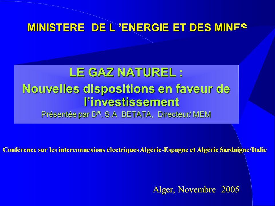 MINISTERE DE L ENERGIE ET DES MINES LE GAZ NATUREL : Nouvelles dispositions en faveur de linvestissement Présentée par D R. S.A BETATA, Directeur/ MEM