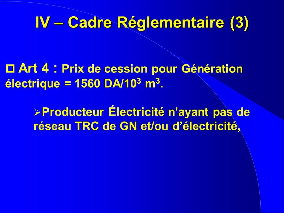 p Art 4 : Prix de cession pour Génération électrique = 1560 DA/10 3 m 3. Producteur Électricité nayant pas de réseau TRC de GN et/ou délectricité, IV