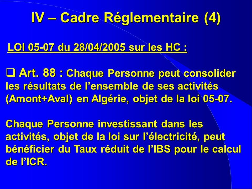 IV – Cadre Réglementaire (4) LOI 05-07 du 28/04/2005 sur les HC : Art. 88 : Chaque Personne peut consolider les résultats de lensemble de ses activité