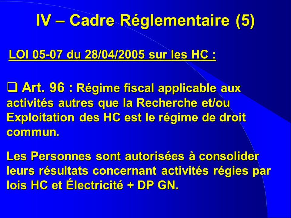 IV – Cadre Réglementaire (5) LOI 05-07 du 28/04/2005 sur les HC : Art. 96 : Régime fiscal applicable aux activités autres que la Recherche et/ou Explo