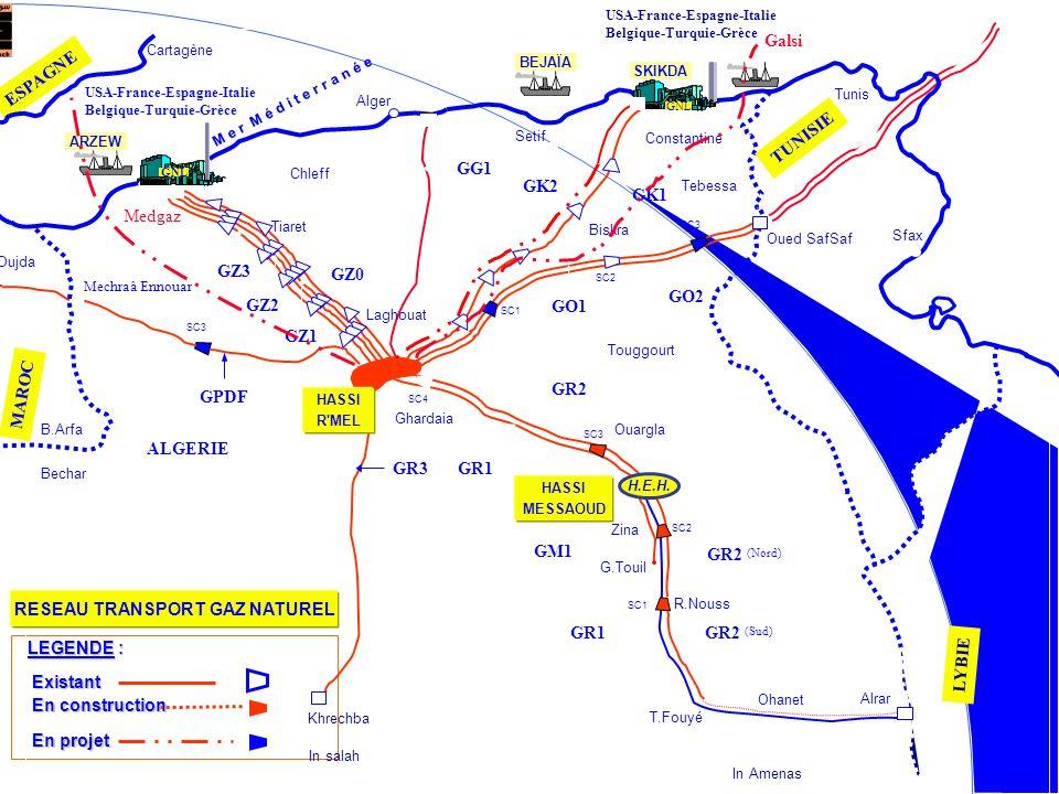 Khrechba In Amenas Alrar Ouargla Mechraâ Ennouar Tiaret Oued SafSaf R.Nouss Ohanet T.Fouyé G.Touil GR2 GR1 GM1 GR2 (Nord) GR2 (Sud) GR1 GR3 GPDF GZ3 G