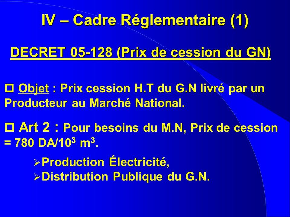 p Objet : Prix cession H.T du G.N livré par un Producteur au Marché National. p Art 2 : Pour besoins du M.N, Prix de cession = 780 DA/10 3 m 3. Produc
