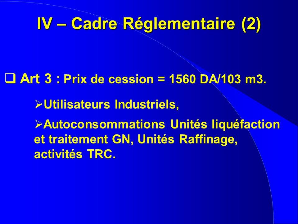 IV – Cadre Réglementaire (2) Art 3 : Prix de cession = 1560 DA/103 m3. Utilisateurs Industriels, Autoconsommations Unités liquéfaction et traitement G