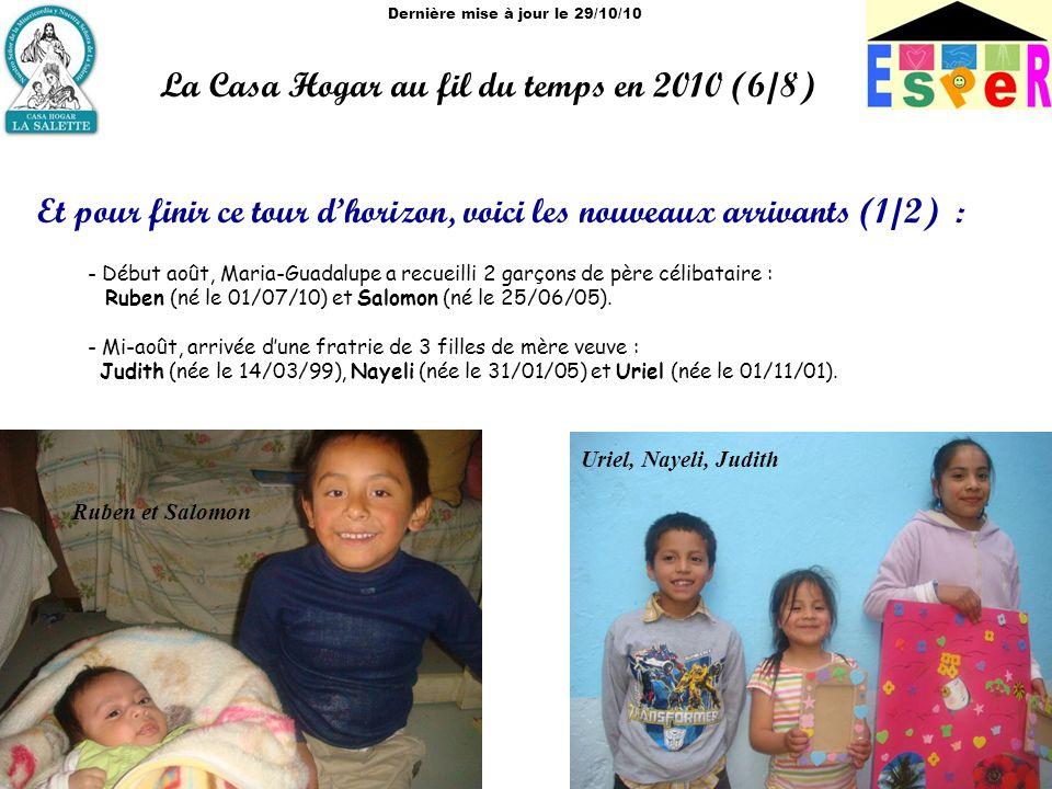 Dernière mise à jour le 29/10/10 La Casa Hogar au fil du temps en 2010 (6/8) Et pour finir ce tour dhorizon, voici les nouveaux arrivants (1/2) : - Début août, Maria-Guadalupe a recueilli 2 garçons de père célibataire : Ruben (né le 01/07/10) et Salomon (né le 25/06/05).
