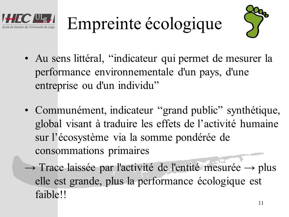 11 Empreinte écologique Au sens littéral, indicateur qui permet de mesurer la performance environnementale d'un pays, d'une entreprise ou d'un individ