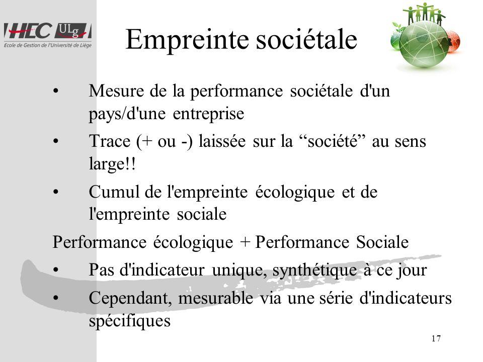 17 Empreinte sociétale Mesure de la performance sociétale d'un pays/d'une entreprise Trace (+ ou -) laissée sur la société au sens large!! Cumul de l'