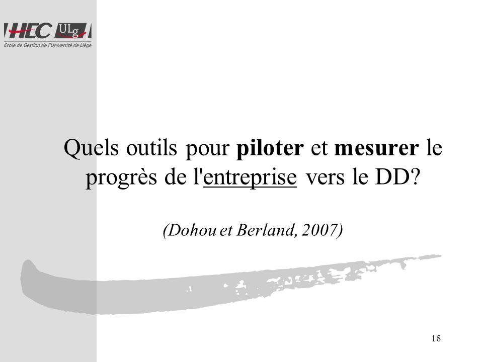 18 Quels outils pour piloter et mesurer le progrès de l'entreprise vers le DD? (Dohou et Berland, 2007)