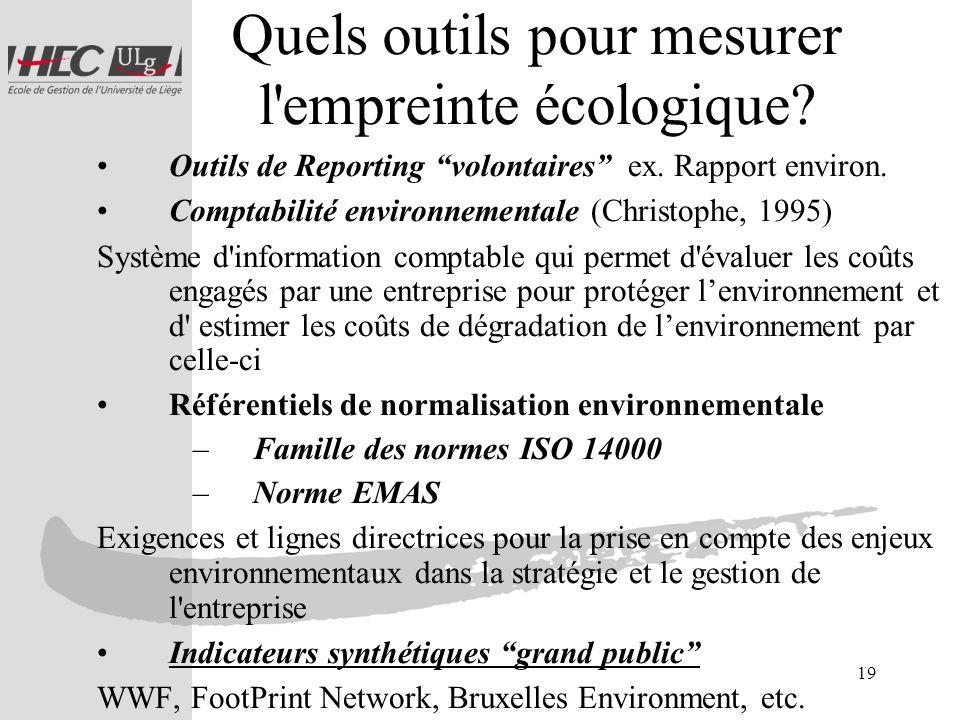 19 Quels outils pour mesurer l'empreinte écologique? Outils de Reporting volontaires ex. Rapport environ. Comptabilité environnementale (Christophe, 1