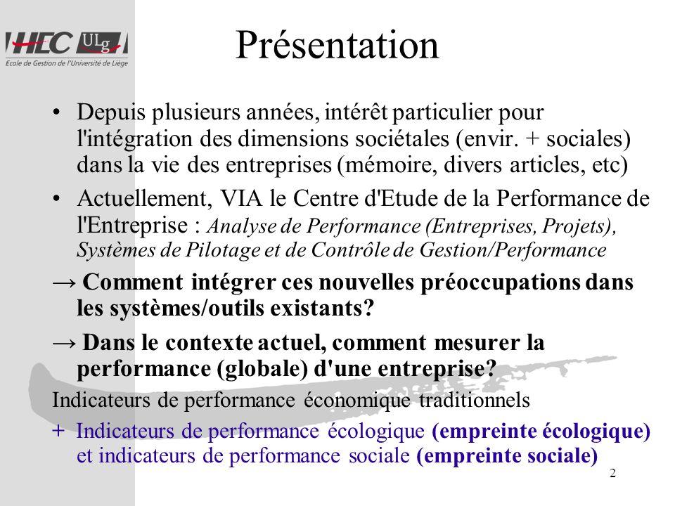 3 Structure Contexte –Développement durable –Performance globale (durable) Notions –Empreinte écologique –Empreinte sociale –Empreinte sociétale Quels outils.