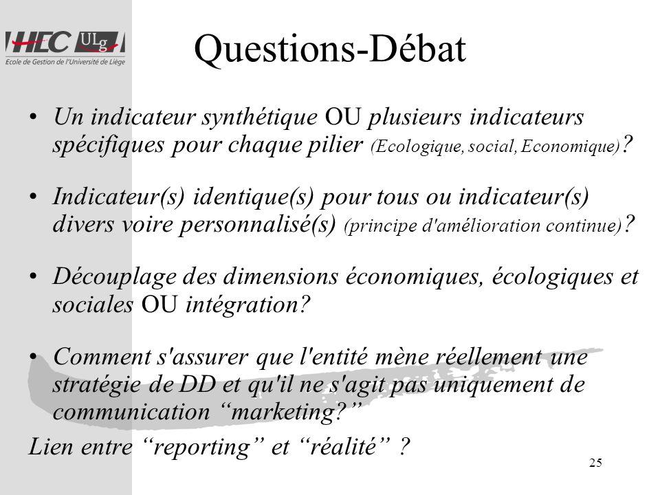 25 Questions-Débat Un indicateur synthétique OU plusieurs indicateurs spécifiques pour chaque pilier (Ecologique, social, Economique) ? Indicateur(s)