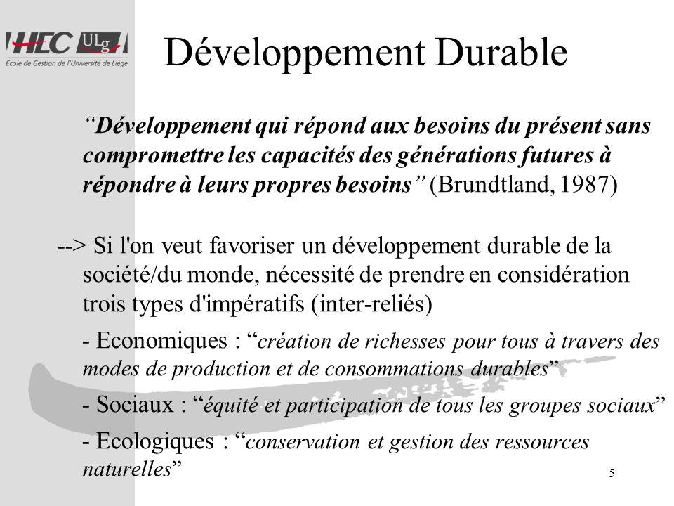 5 Développement Durable Développement qui répond aux besoins du présent sans compromettre les capacités des générations futures à répondre à leurs pro