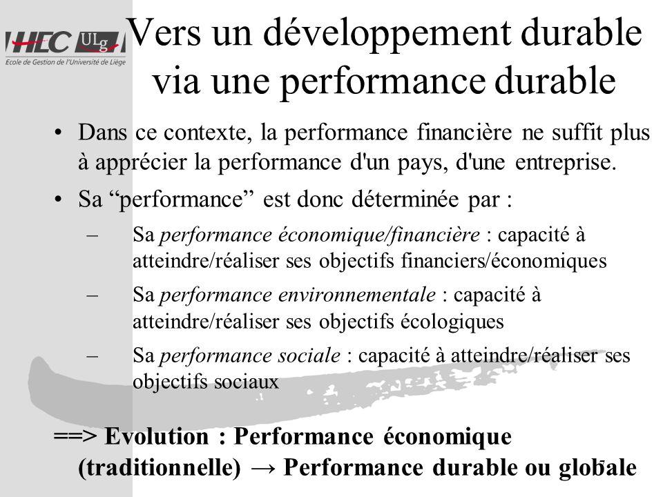 7 Vers un développement durable via une performance durable Dans ce contexte, la performance financière ne suffit plus à apprécier la performance d'un