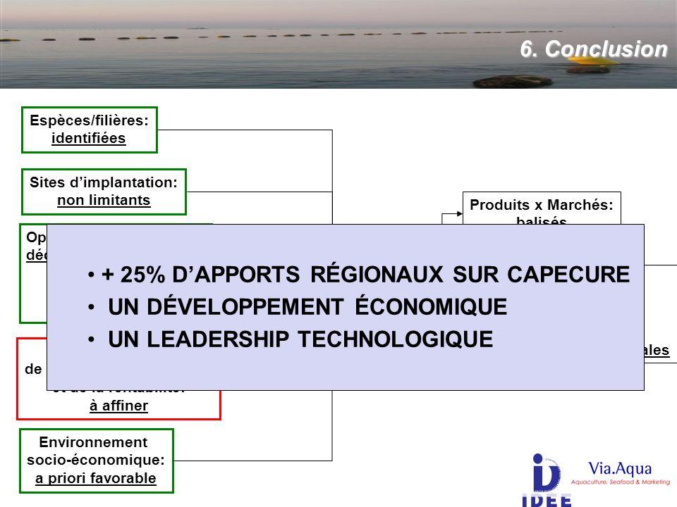 6. Conclusion Région NORD PAS DE CALAIS Environnement socio-économique: a priori favorable Espèces/filières: identifiées Produits x Marchés: balisés R