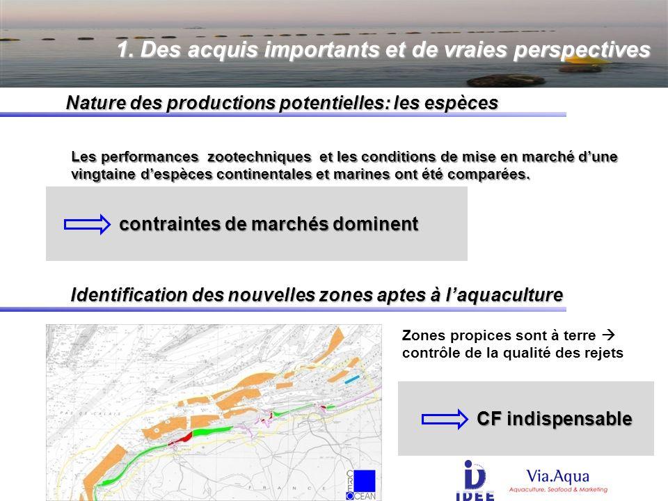 Nature des productions potentielles: les espèces Les performances zootechniques et les conditions de mise en marché dune vingtaine despèces continentales et marines ont été comparées.