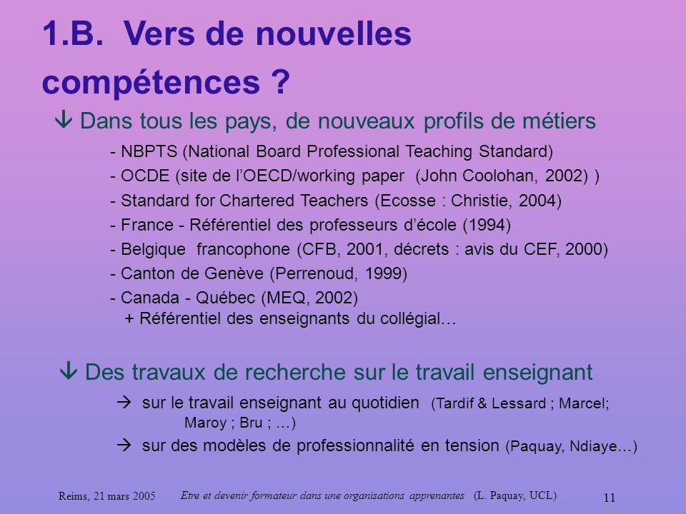 Reims, 21 mars 2005 Etre et devenir formateur dans une organisations apprenantes (L. Paquay, UCL) 11 1.B. Vers de nouvelles compétences ? Dans tous le