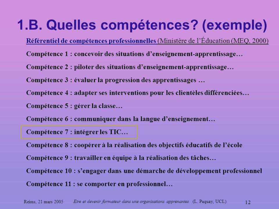 Reims, 21 mars 2005 Etre et devenir formateur dans une organisations apprenantes (L. Paquay, UCL) 12 1.B. Quelles compétences? (exemple) Référentiel d
