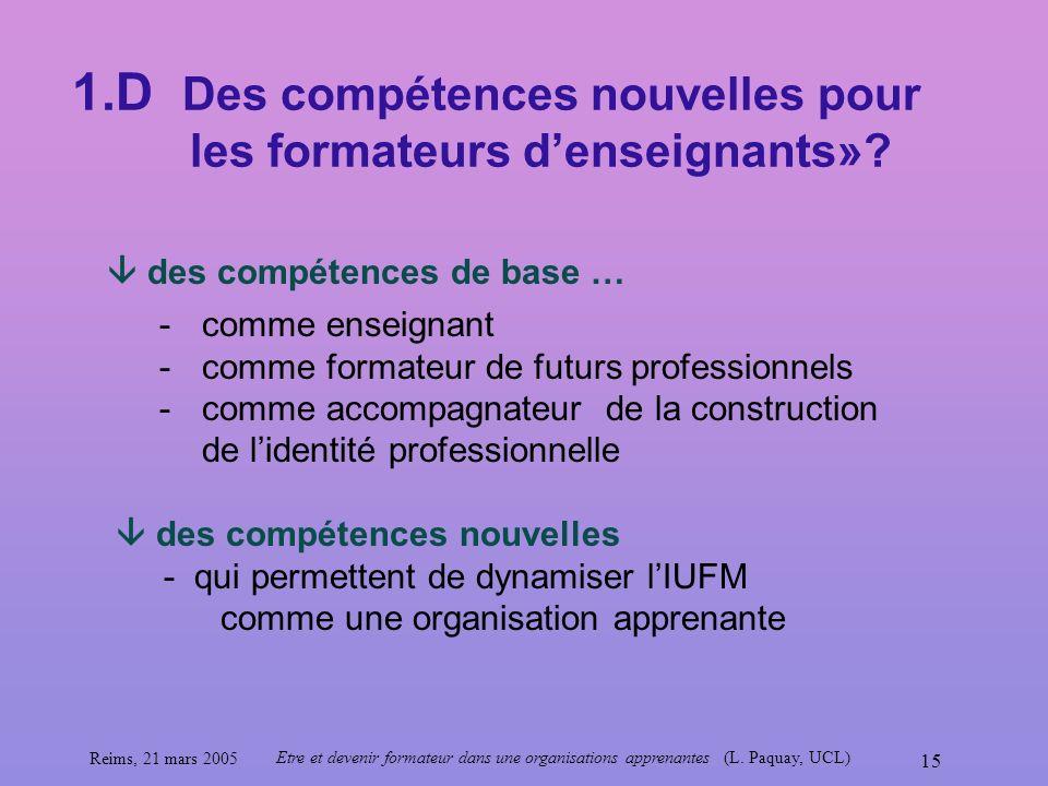 Reims, 21 mars 2005 Etre et devenir formateur dans une organisations apprenantes (L. Paquay, UCL) 15 -comme enseignant -comme formateur de futurs prof