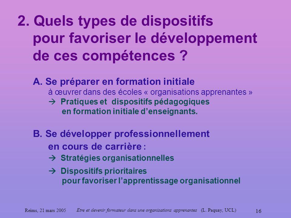 Reims, 21 mars 2005 Etre et devenir formateur dans une organisations apprenantes (L. Paquay, UCL) 16 2. Quels types de dispositifs pour favoriser le d