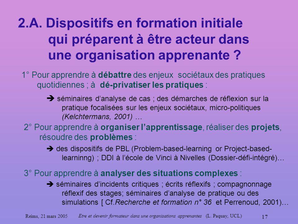 Reims, 21 mars 2005 Etre et devenir formateur dans une organisations apprenantes (L. Paquay, UCL) 17 2.A. Dispositifs en formation initiale qui prépar