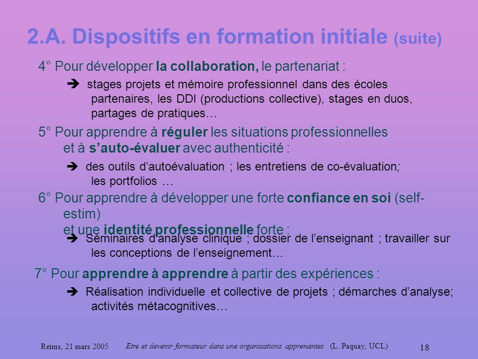 Reims, 21 mars 2005 Etre et devenir formateur dans une organisations apprenantes (L. Paquay, UCL) 18 2.A. Dispositifs en formation initiale (suite) 4°
