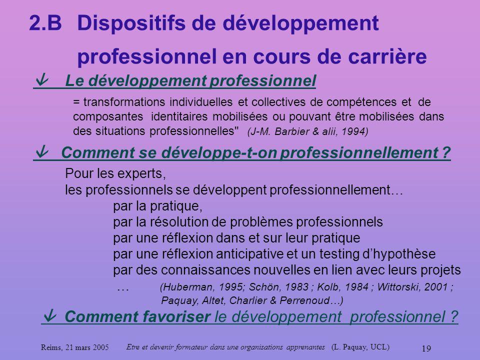 Reims, 21 mars 2005 Etre et devenir formateur dans une organisations apprenantes (L. Paquay, UCL) 19 2.BDispositifs de développement professionnel en