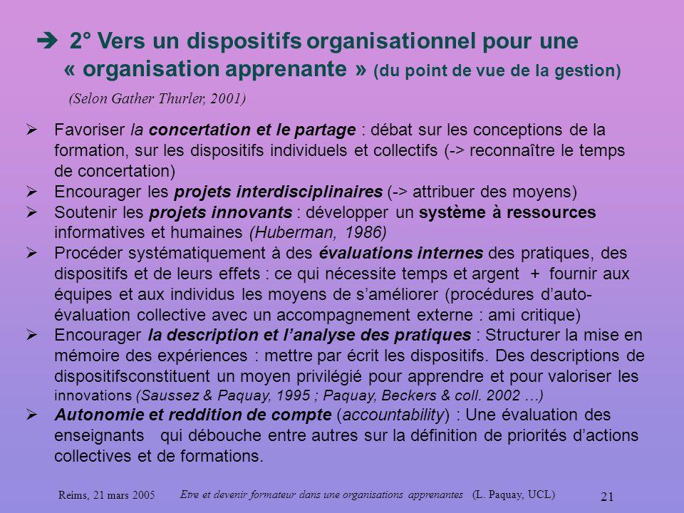 Reims, 21 mars 2005 Etre et devenir formateur dans une organisations apprenantes (L. Paquay, UCL) 21 2° Vers un dispositifs organisationnel pour une «